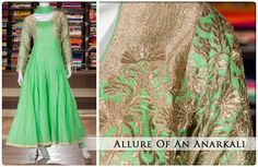 Pleasing green Anarkali with eye-catching zari work makes it an ideal attire for your next party. Priced at Rs 8315, this awesome anarkali is designed for women who appreciate elegance.