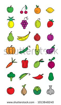 Colorful set of vector icons fruits and vegetables