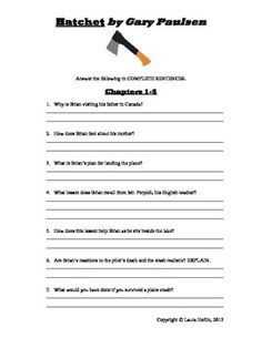 Printables Hatchet Worksheets hatchet lesson plans free printable by gary paulsen comprehension questions created laura heflin on teacherspayteachers com