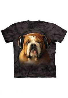English Bulldog T-Shirt Graphic Tee w/ Headphones - Shirts with Dogs