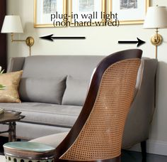 example of non-hardwired/plug-in sconces or wall lights - in this case, reading lights.