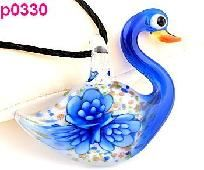 FREE SHIPPING! Awesome Murano Art Glass Lampwork Swan Shaped Floral Pendant #330
