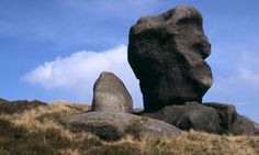 Natural sculpture: part of a gritstone outcrop known as the Wool Packs near Crowden Tower, Kinder Scout, Peak District. Places Around The World, Around The Worlds, Peak District, Derbyshire, Beautiful Sunset, Sunsets, National Parks, Lion Sculpture, Old Things