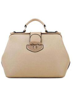 Khaki Turn-lock Clasp Doctor Handbag