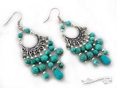Chandelier Turquoise Earrings, large boho dangles, beaded earrings, chandelier earrings, gypsy earrings, bohemian earrings, hippie earrings