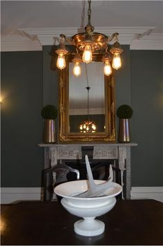 Farrow & Ball Green Smoke 47 - Dining Room walls in Green Smoke Farrow And Ball Paint, Farrow Ball, Hallway Inspiration, Interior Inspiration, Interior Ideas, Wall Colors, House Colors, Paint Colors, Knock Down Wall