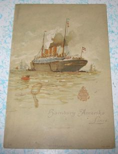 1901 Hamburg Amerika Line Menu Cruise Ship Ocean Liner Express Steamer Columbia
