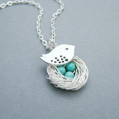 Silver Bird Nest Necklace w/ Turquoise by SweetBlueBirdJewelry $24.00