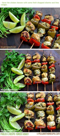 Cilantro-Lime Chicken Skewers by PictureTheRecipe Chicken_Skewers Cilantro Lime Grilling Recipes, Cooking Recipes, Healthy Recipes, Vegetarian Grilling, Healthy Grilling, Barbecue Recipes, Barbecue Sauce, Vegetarian Food, Cooking Tips