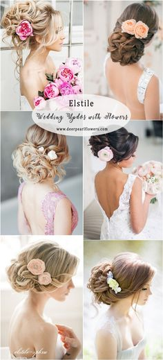 Elstile Long Wedding Updo Hairstyles with Flowers #weddings #weddingideas #hairstyles #weddinghair ❤️ http://www.deerpearlflowers.com/elstile-wedding-hairstyles/