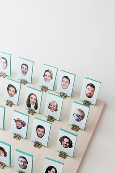 So clever! Make a DIY Guess Who game with family members' faces.