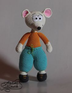 EN: Crochet Mouse Pattern. Crochet Pattern - PDF File - for Bernie, the mouse. The cutest mouse crochet pattern from AtelierHandmade.com  Bernie is a hiking mouse, he loves to go out in the nature and explore the world. Be sure to take him with you on your adventures, hell be the best companion ever! Skill level: Easy / beginners Crochet Hook: 2,5 mm Yarn: cotton, sport, category 2. Final toy: just a bit over 25 cm Hes best friends with Vasilik, the Fox…