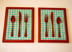 Painted silverware art - from the dollar store. I'd try to find old/worn silverware at a thrift store instead, and mismatched would be even more cute. Kitchen Wall Art, Diy Kitchen, Cheap Kitchen, Lemon Kitchen, Kitchen Walls, Room Kitchen, Kitchen Utensils, Kitchen Ideas, Diy Interior