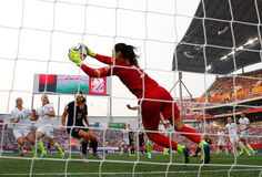 Goalkeeper Hope Solo #1 of United States makes a save in the first half against Australia during the FIFA Women's World Cup 2015