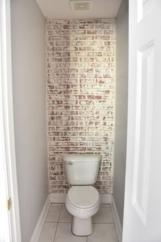 Your guide to turning your house into a home. one DIY project and yard sale find at a time Fake Brick Wall, Faux Stone Walls, Brick Accent Walls, Faux Brick, Brick Walls, Brick Columns, Brick Paneling, White Paneling, Brick Bathroom