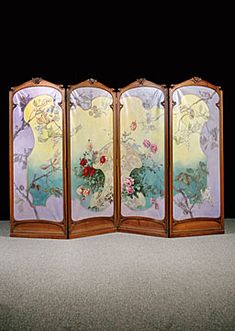 Art Nouveau Four-Panel Painted Screen. Wood and Painted Fabric.  France. Circa 1890.