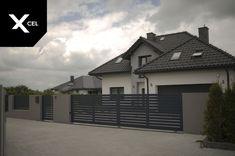 House Fence Design, Unique House Design, Beautiful House Plans, Beautiful Homes, Morden House, Aluminum Fence, Grey Houses, Modern Fence, House Colors