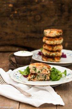 Salmon Cakes with Chive and Garlic Sauce. #food #yummy #delicious