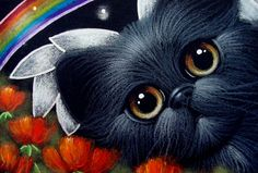 """Black Angel Cat Poppy Flowers Garden and Rainbow"" par Cyra R. Cancel"