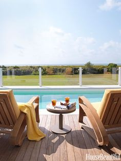At a family vacation home on Sullivan's Island, South Carolina, designer Sally Markham outfitted a poolside perch with Cuba lounge chairs from Mecox.