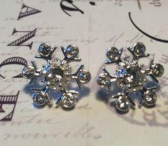 14K Gold or 925 Sterling Silver Austrian Crystal Snowflake Stud Earrings