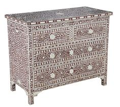 Beautiful Artisan Mother of Pearl Inlay Chocolate Chest of Drawers From InStyle-Decor.com Beverly Hills Trending Hollywood Home Decor Enjoy & Happy Pinning