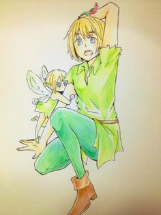 Armin and Annie as Peter Pan and tinker bell