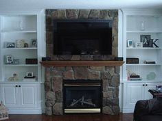 images of built in bookcases around stone fireplace   Shelving around fireplace