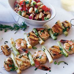 Seafood Kebabs with Bean and Tomato Salad via Woman's Day