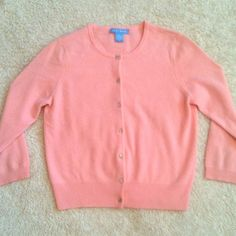 100% Cashmere // Pink Cardigan White + Warren, 100% Cashmere, Pink 3/4 sleeves cardigan. Great condition, super soft! Square rhinestone buttons down the front. Dress it up or dress it down. Perfect closet staple! White + Warren Sweaters Cardigans