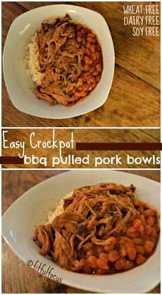 Easy Crockpot BBQ Pulled Pork Bowls (wheat/dairy/soy free)