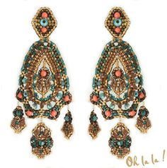 Swarovski and Gold Fill Statement Earrings Beaded by OhlalaJewelry, $150.00