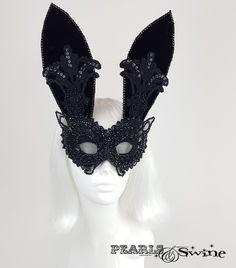 "Black Velvet & Lace Bunny Rabbit Mask ""Eyes Wide Shut"" – PearlsandSwine"