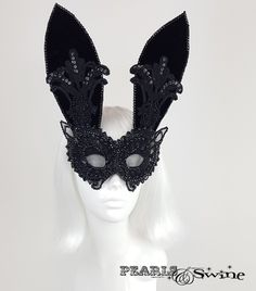 "Black Velvet & Lace Bunny Rabbit Mask ""Eyes Wide Shut"" – PearlsandSwine"