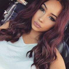 Hair ideas Colour Hair, Hair styles, Hair makeup hair color ideas for dark skin - Hair Color Ideas Pelo Color Vino, Brazilian Hair, Hair Dos, Remy Hair, Fall Hair, Hair Trends, Straight Hairstyles, Hair Inspiration, Curly Hair Styles