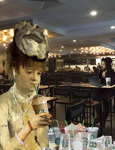 """""""The Frappuccino Drinker"""" (After Degas) from the Starbucks series by Barry Kite"""