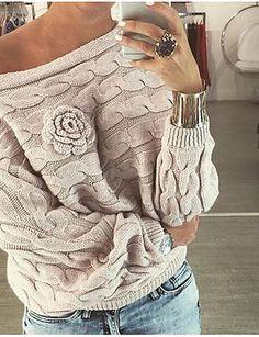 Dames Casual/Dagelijks Normaal Pullover Effen-Boothals Lange mouw Katoen Herfst Winter Medium Micro-elastisch