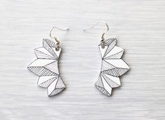 Geometric Hand illustrated earrings   These graphic earrings feature hand drawn geometric shape and illustration. Treat yourself or give as a