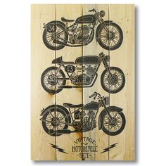 Wile E. Wood Vintage Motorcycle Wall Art