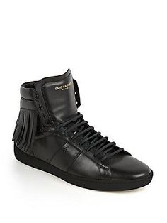 Saint Laurent Fringed Leather High-Top Sneakers