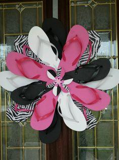 f7595a12b SUMMER Handmade Flip Flop Wreath Wall Door Decor Zebra Print Hot Pink Bl    Wh