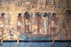 One of the most beautifully decorated tombs in the Valley of the Kings is that of Set I. Depictions of the journey of the Sun God through the regions of the underworld are featured prominently on the walls of the tomb and were meant to assist the king in his journey through the afterlife. As the Sun God arises, reborn each day, so too shall the King. New Kingdom, Dynasty 19.