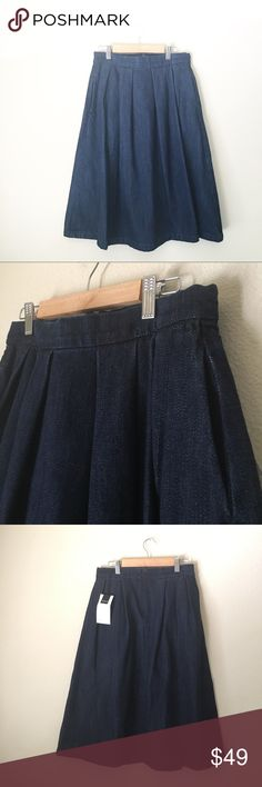 Denim Zara skirt Small New with tags. Thick denim, 100% cotton. Waist measures 13 inches laid flat, hips 16 inches, length approx 26 inches. Zara Skirts Midi