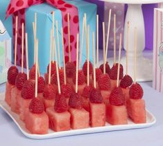 Pink Party Idea: Watermelon and raspberry fruit on a stick