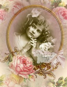 Gorgeous Vintage Rose Frame ~ crop out photo to use.