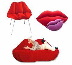 Pink+Lip+Chair   Flirtatious Lips Pop Art Chair