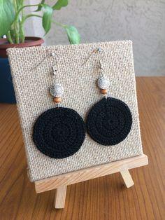 Black Crochet Earrings Round Earrings Crochet by TipsyGypsyCrochet