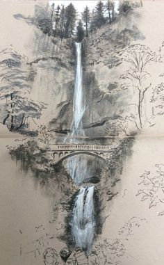 Architectural sketches 568227677985930506 - Multnomah Falls Source by merimeemiggliac Landscape Pencil Drawings, Landscape Sketch, Pencil Art Drawings, Art Drawings Sketches, Landscape Art, Landscape Paintings, Bts Drawings, Ink Illustrations, Chinese Landscape Painting
