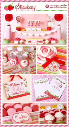 pink strawberry party , DIY birthday decoration by http://www.etsy.com/shop/venspaperie