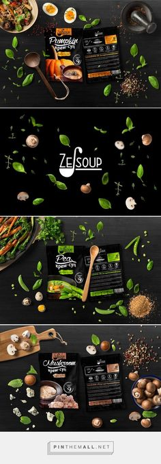 Ze-soup soups by QUZEND design & development. Pin curated by - a grouped images picture - Pin Them All Food Packaging Design, Packaging Design Inspiration, Graphic Design Inspiration, Juice Packaging, Brand Packaging, Menu Design, Label Design, Design Ideas, Gastronomia